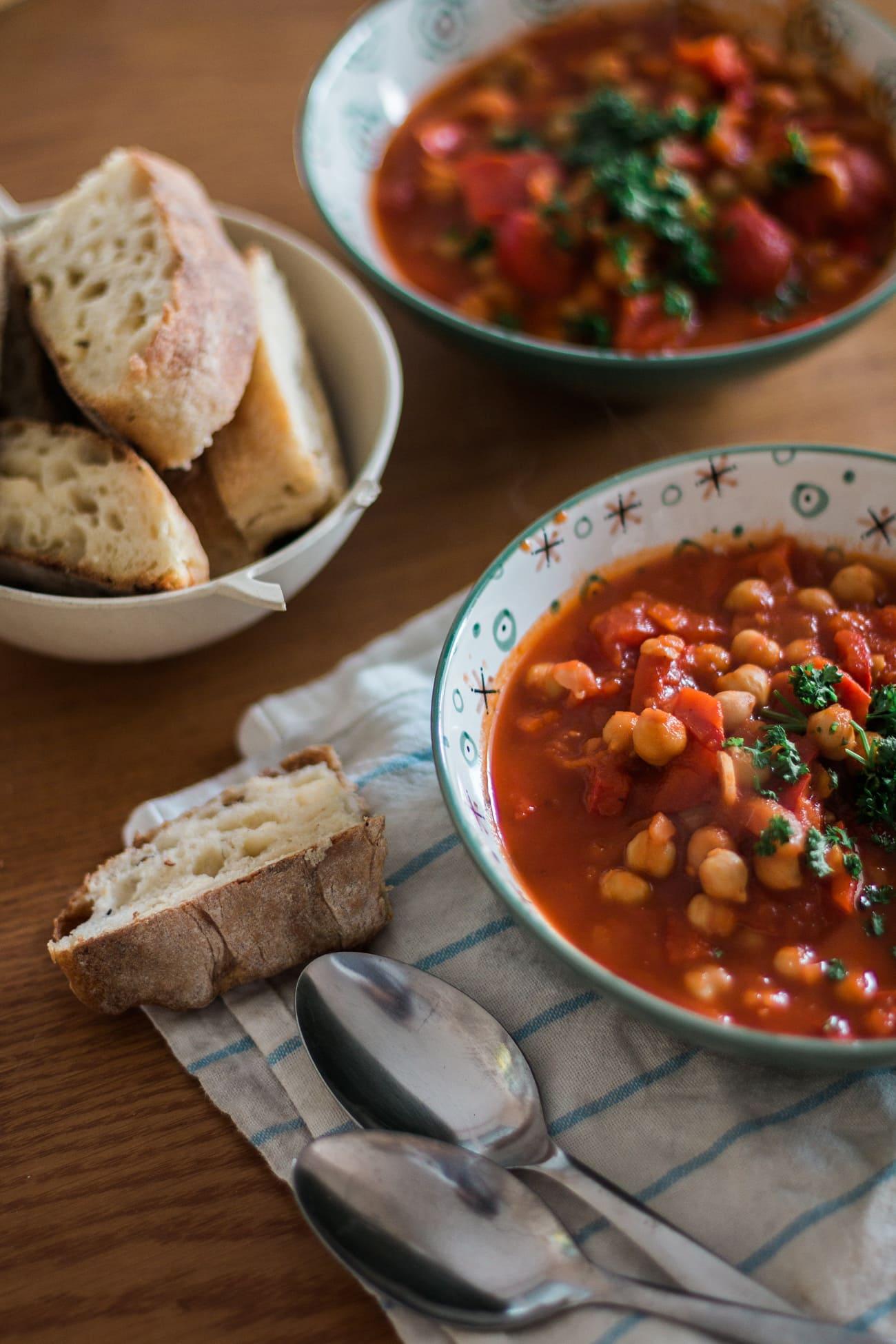 Potage-réconfort pois chiches & tomates