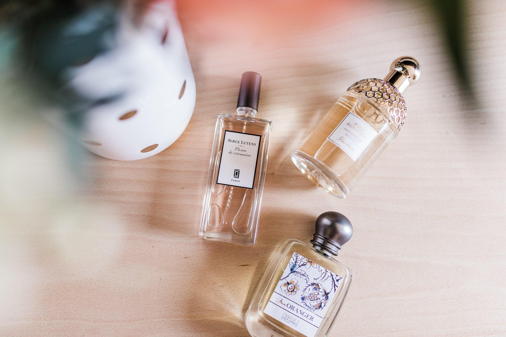 Premiers jours de printemps : mes parfums préférés - Serge Lutens Fleur de Citronnier, Fragonard Mon Oranger, Guerlain Aqua Allegoria Mandarine Basilic