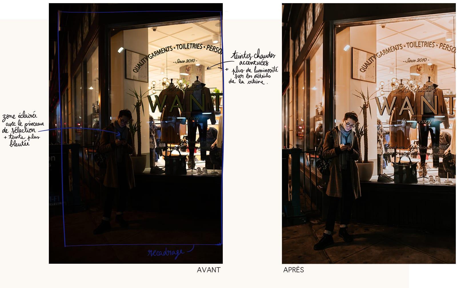Avant-après d'une retouche de photographie sur Lightroom : apprendre à se servir d'un logiciel pour améliorer ses photos.